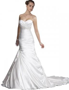 Mermaid Sweetheart Chapel Train Long White Satin Nyla Wedding Dress for Sale