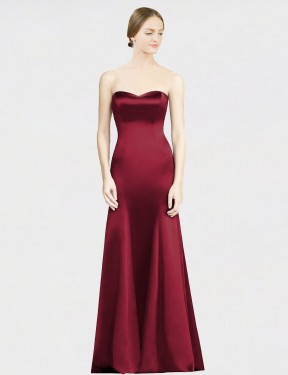 Mermaid Sweetheart Floor Length Long Burgundy Satin Miranda Bridesmaid Dress for Sale