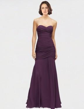 Mermaid Sweetheart Floor Length Long Grape Chiffon Adley Bridesmaid Dress for Sale