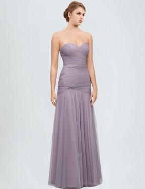 Mermaid Sweetheart Floor Length Long Heather Tulle Maren Bridesmaid Dress for Sale