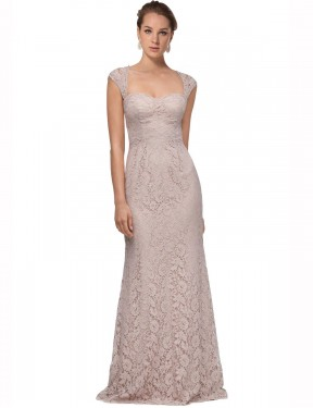 Mermaid Sweetheart Floor Length Long Pink Lace Khaleesi Bridesmaid Dress for Sale