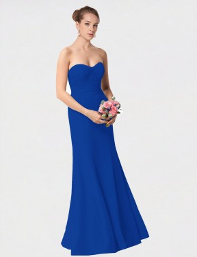Mermaid Sweetheart Floor Length Long Royal Blue Chiffon Janiyah Bridesmaid Dress for Sale