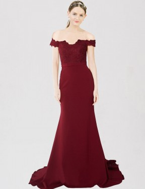 Mermaid Sweetheart Off the Shoulder Sweep Train Floor Length Long Burgundy Gold Stretch Crepe & Lace Dawn Bridesmaid Dress for Sale