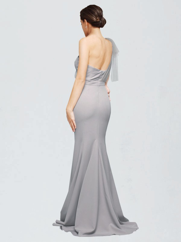 Mermaid Sweetheart One Shoulder Sweep Train Floor Length Long Oyster Silver Stretch Crepe Dominic Bridesmaid Dress for Sale