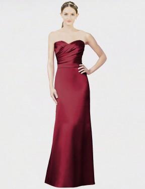 Mermaid Sweetheart Strapless Floor Length Long Burgundy Satin Evelynn Bridesmaid Dress for Sale