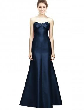 Mermaid Sweetheart Strapless Floor Length Long Dark Navy Satin Leighton Bridesmaid Dress for Sale