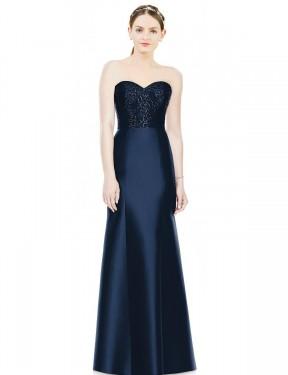 Mermaid Sweetheart Strapless Floor Length Long Dark Navy Satin Nadia Bridesmaid Dress for Sale