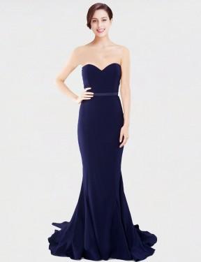 Mermaid Sweetheart Strapless Sweep Train Floor Length Long Dark Navy Stretch Crepe Candance Bridesmaid Dress for Sale