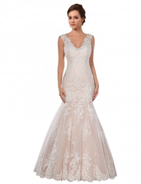 Mermaid V-Neck Chapel Train Long Ivory & Champagne Lace Kendall Wedding Dress for Sale