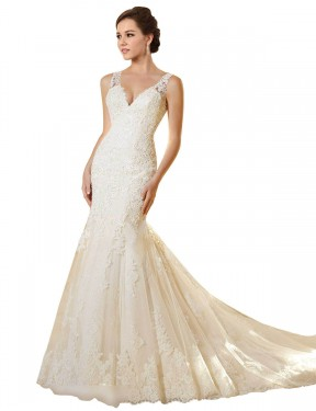 Mermaid V-Neck Chapel Train Long Ivory & Champagne Lace & Tulle Emerson Wedding Dress for Sale