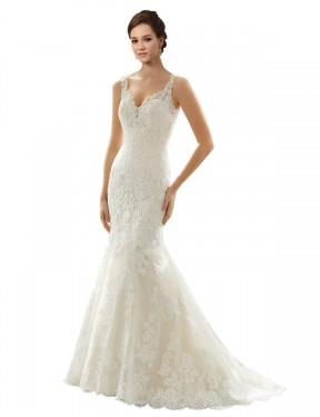 Mermaid V-Neck Chapel Train Long Ivory & Champagne Lace & Tulle Paige Wedding Dress for Sale