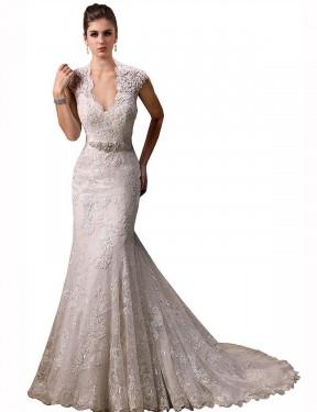 Mermaid V-Neck Chapel Train Long Ivory Lace Melissa Wedding Dress for Sale