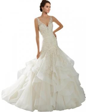 Mermaid V-Neck Chapel Train Long Ivory Tulle Lucia Wedding Dress for Sale