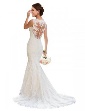 Mermaid V-Neck Chapel Train Long White Lace Wedding Dress for Sale