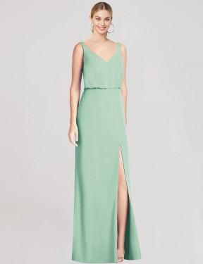 Mermaid V-Neck Floor Length Long Mint Green Chiffon Perry Bridesmaid Dress for Sale
