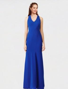 Mermaid V-Neck Floor Length Long Royal Blue Stretch Crepe Sam Bridesmaid Dress for Sale