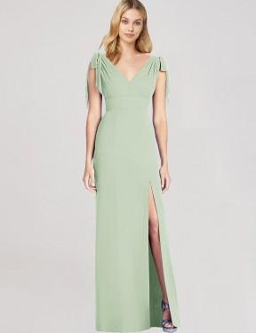 Mermaid V-Neck Floor Length Long Sage Chiffon Jani Bridesmaid Dress for Sale