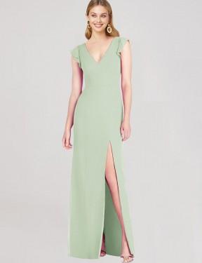 Mermaid V-Neck Floor Length Long Sage Chiffon Marcie Bridesmaid Dress for Sale