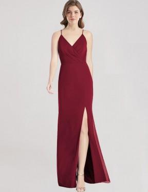 Mermaid V-Neck Spaghetti Straps Floor Length Long Burgundy Chiffon Sue Bridesmaid Dress for Sale