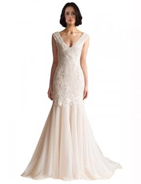 Mermaid V-Neck Sweep Train Long Ivory & Champagne Tulle Gabriela Wedding Dress for Sale