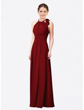 Sheath Halter Floor Length Long Burgundy Chiffon Alejandra Bridesmaid Dress for Sale