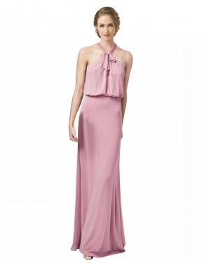 Sheath Halter Floor Length Long Dusty Pink Chiffon Estelle Bridesmaid Dress for Sale