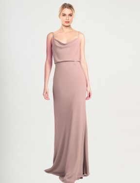 Sheath High Neck Cowl Floor Length Long Dusty Pink Stretch Crepe Castro Bridesmaid Dress for Sale