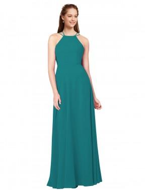 Sheath High Neck Floor Length Long Hunter Chiffon Holland Bridesmaid Dress for Sale