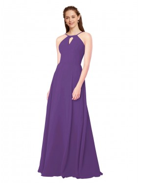 Sheath High Neck Floor Length Long Plum Purple Chiffon Karlie Bridesmaid Dress for Sale