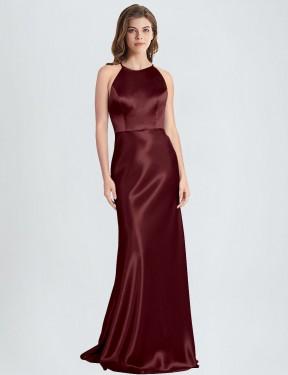 Sheath High Neck Halter Floor Length Long Burgundy Gold Stretch Satin Polin Bridesmaid Dress for Sale
