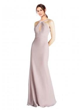 Sheath High Neck Halter Floor Length Long Chiffon Nicasio Bridesmaid Dress for Sale