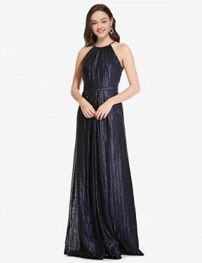 Sheath High Neck Halter Floor Length Long Dark Navy Sequin Penelope Bridesmaid Dress for Sale