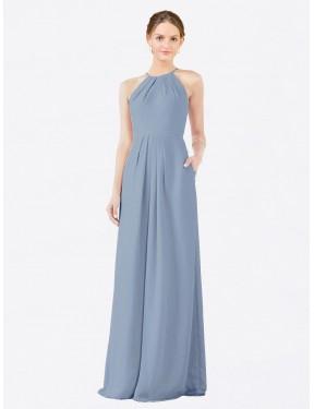 Sheath High Neck Halter Floor Length Long Dusty Blue Chiffon Emma Bridesmaid Dress for Sale