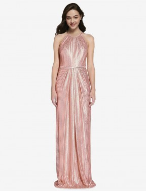 Sheath High Neck Halter Floor Length Long Rose Gold Sequin Penelope Bridesmaid Dress for Sale