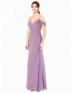 Sheath High Neck Sweetheart Off the Shoulder Floor Length Long Chiffon Elham Bridesmaid Dress for Sale