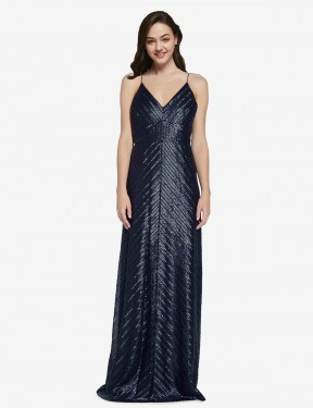 Sheath High Neck V-Neck Floor Length Long Dark Navy Sequin Adrielle Bridesmaid Dress for Sale
