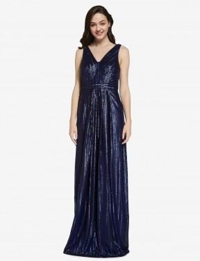 Sheath High Neck V-Neck Floor Length Long Dark Navy Sequin Linden Bridesmaid Dress for Sale
