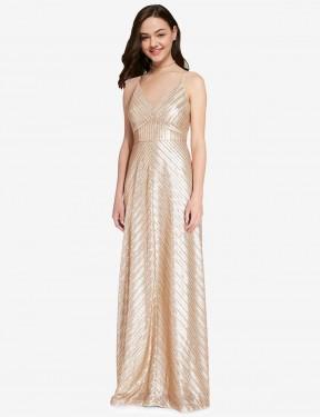 Sheath High Neck V-Neck Floor Length Long Gold Sequin Adrielle Bridesmaid Dress for Sale