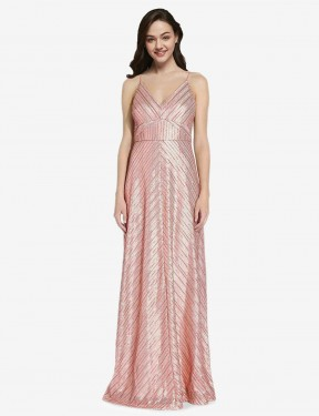 Sheath High Neck V-Neck Floor Length Long Rose Gold Sequin Adrielle Bridesmaid Dress for Sale