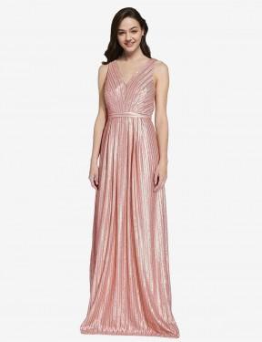 Sheath High Neck V-Neck Floor Length Long Rose Gold Sequin Linden Bridesmaid Dress for Sale