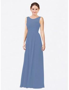 Sheath Illusion Floor Length Long Windsor Blue Chiffon Blair Bridesmaid Dress for Sale