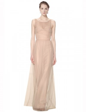 Sheath Illusion Sweetheart High Neck Floor Length Long Blush Pink Tulle Kailey Bridesmaid Dress for Sale