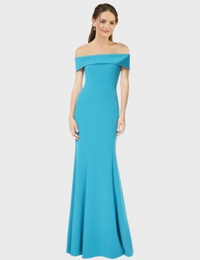 Sheath Off the Shoulder Floor Length Long Peacock Blue Stretch Crepe Thitina Bridesmaid Dress for Sale