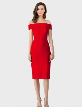 Sheath One Shoulder Cocktail Length Tea Length Short Red Stretch Crepe Carol Bridesmaid Dress for Sale