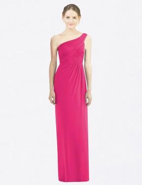 Sheath One Shoulder Floor Length Long Azalea Chiffon Shelby Bridesmaid Dress for Sale