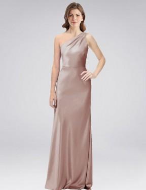 Sheath One Shoulder Floor Length Long Dusty Pink Stretch Satin Douglass Bridesmaid Dress for Sale
