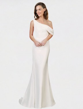 Sheath One Shoulder Sweep Train Long Ivory Stretch Crepe Cantrell Bridesmaid Dress for Sale
