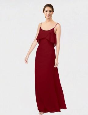 Sheath Scoop Floor Length Long Burgundy Chiffon Vivian Bridesmaid Dress for Sale