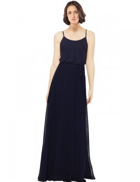 Sheath Scoop Floor Length Long Dark Navy Chiffon Khloe Bridesmaid Dress for Sale