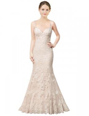 Sheath Spaghetti Straps Chapel Train Short Ivory Lace Camille Wedding Dress for Sale